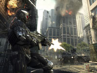 Taking aim at enemies trapped in the open in Crysis 2