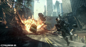 Fleeing an explosion in a Nanosuit 2 in Crysis 2