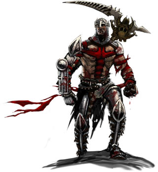 Concept art from Dante's Inferno showing Dante with stiched on crucifix and the Scythe of Death slung over his shoulder