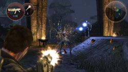 Third-person ground combat in 'Dark Void'