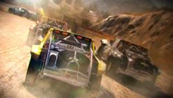 Cars racing in the desert in 'DiRT 2'