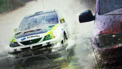 Subaru splashing through the water in 'DiRT 2'