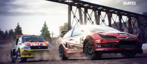 Rally racing in a rural environment in DiRT 3