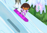 Dora going downhill on a snowboard 'Dora the Explorer: Dora Saves the Snow Princess' for Wii