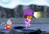 Dora and Boots the Monkey underground in 'Dora the Explorer: Dora Saves the Snow Princess'  for Wii