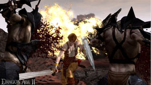 A female warrior battling enemies in Dragon Age II