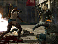 Female Rogue character in pirate garb besting human foes in Dragon Age II
