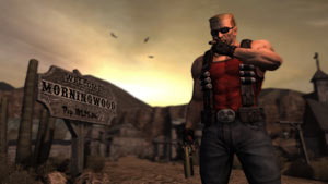 Duke Nukem striking a pose in an Old West setting in Duke Nukem Forever