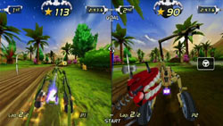 2 players locally and 6 online in 'ExciteBots: Trick Racing'