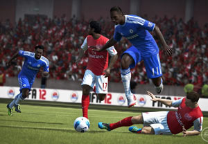 Breaking a tackle in the open field in FIFA Soccer 12