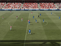 Teams manuvering for the ball at mid-field in FIFA Soccer 12