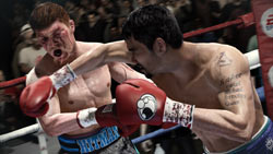 Manny Pacquiao hammering Ricky Hatton with a right hand in Fight Night Champion