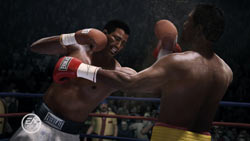 Sugar Ray Robinson landing a combination against Tommy Hearns in Fight Night Champion