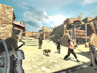 Fighting in the middle of a Midieval town square in The First Templar