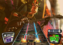 Punk rock playable character sneering in Guitar Hero II