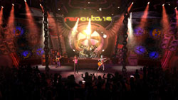 In-game concert venue seen from the crowds view in Guitar Hero 2