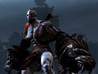 Kratos with new weapons the Cestus gauntlets in God of War III