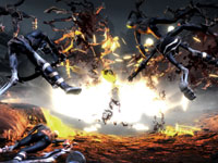 Action explosive dans God of War III