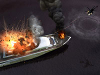 A helicopter taking out a large boat in Grand Theft Auto: Episodes from Liberty City