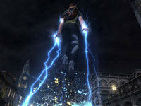 Cole using his electrical powers to levatate in inFAMOUS 2