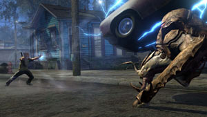Cole using his abilities to toss a car at a huge enemy in inFAMOUS 2