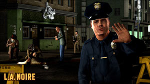 A beat cop stopping you from entering a crime scene being investigated in L.A. Noire