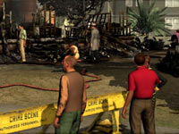 Observing the results of a possible case of arson from the police barricade in L.A. Noire