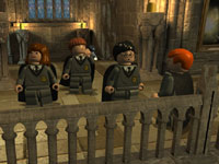 Harry and the gang in the halls of Hogworts in LEGO Harry Potter: Years 1-4