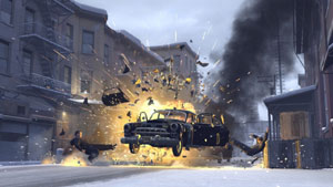 A car exploding, with victims sent flying in Mafia II