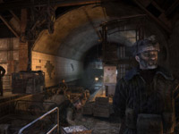 A millitary installation built within a subway stop in Metro 2033
