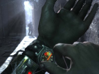 Using wristwatch to monitor remaining oxygen available through a gas mask in Metro 2033