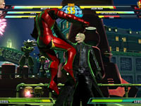 Iron Man getting choke-slammed by Albert Wesker in Marvel vs. Capcom 3: Fate of Two Worlds