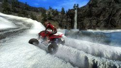 Carving ruts in the snow with an ATV in MX vs. ATV: Reflex