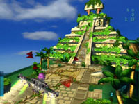 Tropical environment featuring Mayan-inspired pyramid from MySims SkyHeroes