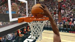 A ball being dunked after rebound in 'NBA LIVE 10'