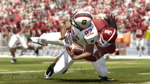 Open-field tackle by the Crimson Tide in NCAA Footbal 12