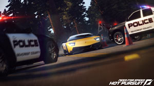 Police road block of a racer in Need For Speed: Hot Pursuit