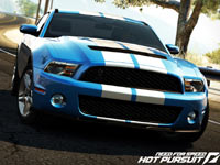 Blue muscle car with racing stripes in Need For Speed: Hot Pursuit