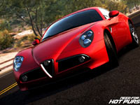 Red high-performance car in the desert in Need For Speed: Hot Pursuit