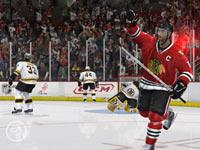 Blackhawk player celebrating a goal in 'NHL 10'