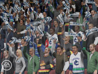 Front row crowd at a Canucks game in 'NHL 10'