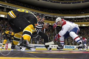 Dropping the puck during a face-off in NHL 12
