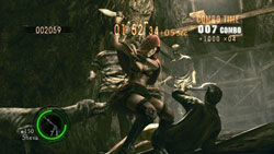 Racking up points against an assortment of zombie types in Mercenary mode in Resident Evil 5 Gold Edition