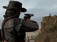 Marston taking aim on a distant enemy with a sighted rifle in Red Dead Redemption