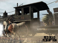 Marston attacking a train from horseback in Red Dead Redemption