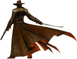 The Swordsman dual wielding from behind in Red Steel 2