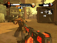 Using a machinegun against multiple enemies in Red Steel 2