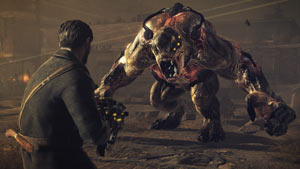 Capelli facing down a formidable Chimeran at close range in Resistance 3