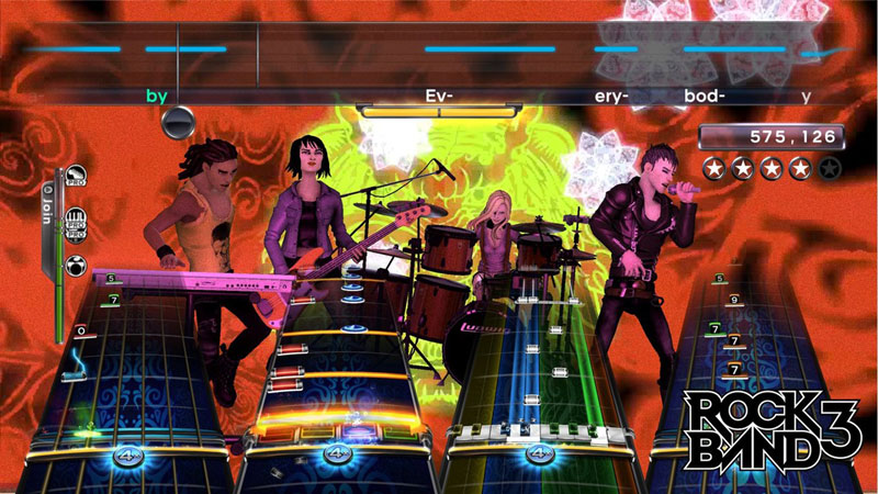 Note Highway gameplay mechanic from Rock Band 3