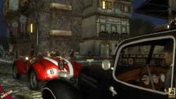 Sean in his race car being tailed by Nazis in The Saboteur